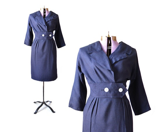 Size M Navy Blue 1950s dress 50s retro sailor naut