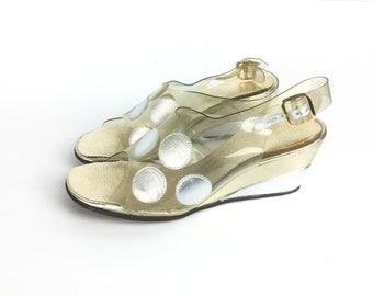 1960s shoes, Gold shoes, Silver shoes, 60s shoes, size 5 55, clear, plastic, costume, wedge heels, polka dot, leather, womens