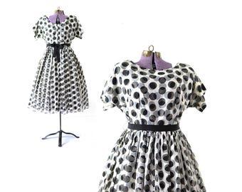 1950s Dress, 50s Dress, Plus Size Dress, Large Dress, XL Dress, XXL Dress, Polka Dot Dress, Rockabilly, Vintage Clothing, Vintage Dress