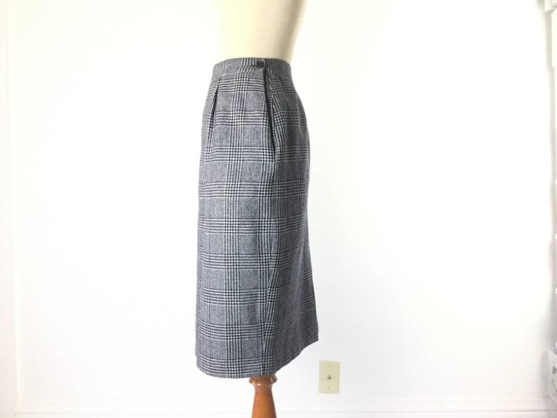 plaid skirt Size XS houndstooth skirt black white skirt grey pencil skirt womens