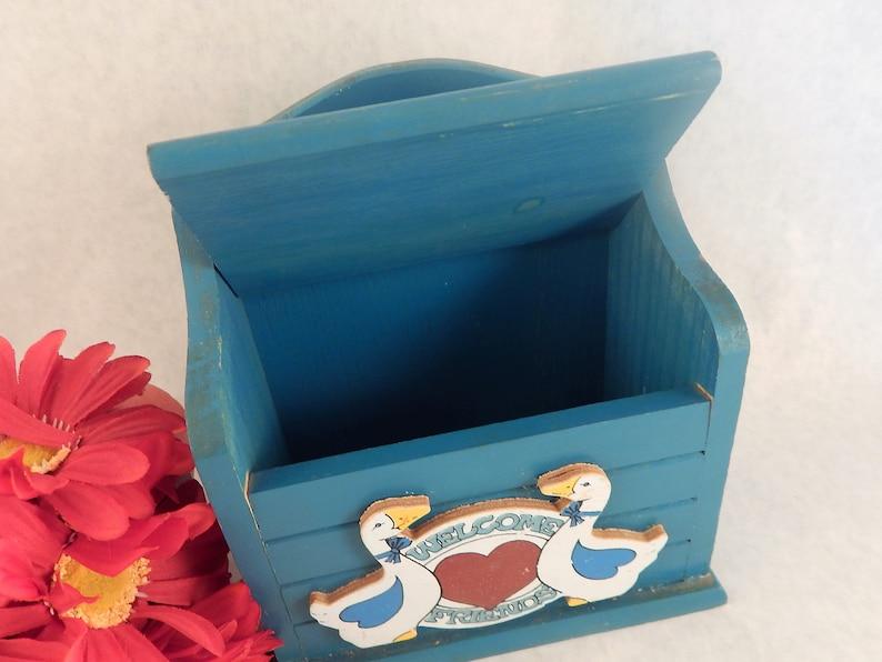 Recipe Card Box Blue Wooden Box Index Card File Box Home Organization Storage Vintage 1970s Farmhouse Kitchen Geese Duck Decor FREE SHIPPING