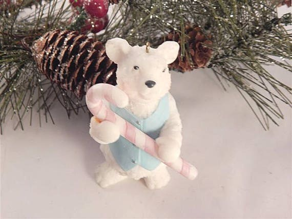 Polar Bear Ornament 3 White and Blue Cold Cast Resin Figurine Christmas Decor FREE SHIPPING Free Shipping