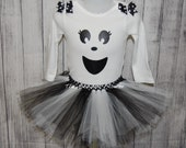 Cute Ghost halloween tutu skirt and shirt long sleeve bodysuit newborn to 5T halloween costume ghost tutu outfit