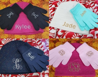 d9d21fc7aa2 child hat and glove set monogram personalized gifts kids winter hat girls