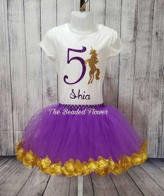 Unicorn Birthday Shirt Tutu Outfit Set Party EMBROIDERED 1st 2nd 3rd 4th 5th