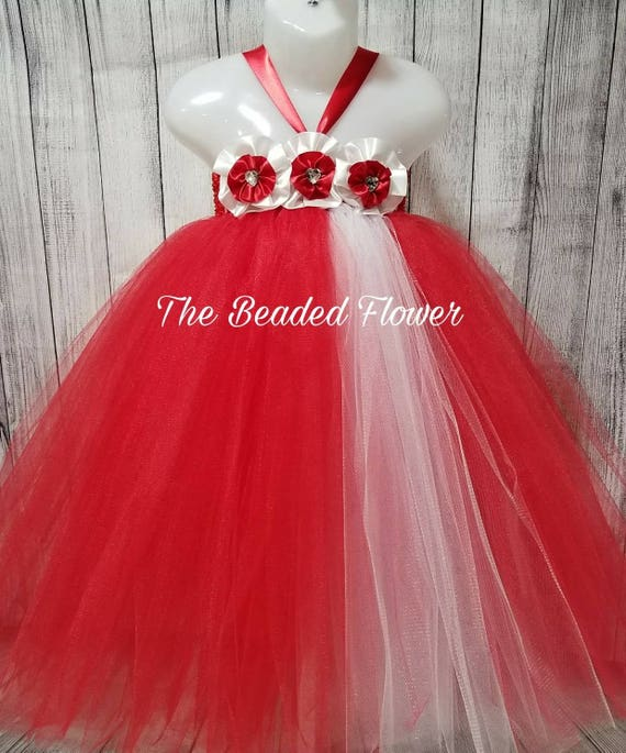 34dab0957 Valentine tutu dress red white flower girl wedding dress | Etsy