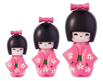 From Japan Kokeshi Wooden Doll Set of 3 Pink