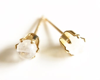 Tiny Moonstone and Gold Filled Stud Earrings //Moonstone Gemstone //Moonstone earrings //Gifts for her //Stocking Filler //Gold Earrings
