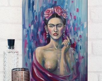 Frida Kahlo print, Frida, giclee print,Frida Kahlo art, wall art, purple, purple wall art, frida kahlo poster,fine art print, fine art art,