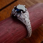 Black Diamond Engagement Ring Antique / Vintage Style Black Diamond with Diamonds Engraved Filigree Engagement  Ring 18k  White Gold
