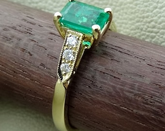 Emerald Cut Emerald  with Diamonds Very Petite Art Deco Style Engagement  Ring 18k Yellow Gold Available Now