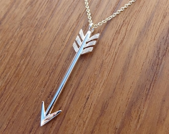 Arrow Pendant 1.6 inches Necklace Solid 14k Yellow Gold, Chain sold separately.