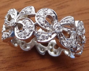 Diamond Bow Wedding Band Ring 14k Solid White Gold Bows