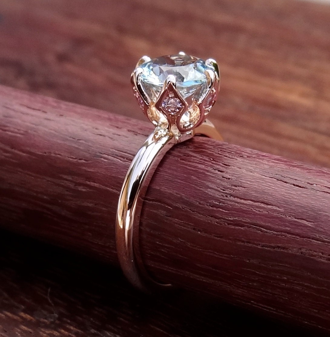 1aa4309b724974 Crown Solitaire Rose Gold Engagement Ring Vintage / Antique | Etsy