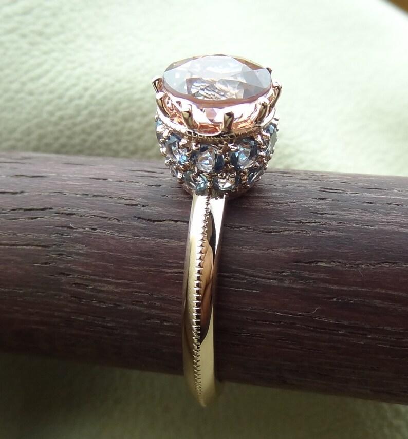 a3585db94d6f5 Pink Tourmaline Engagement Ring Pave Aquamarine / Blue Topaz Basket Crown  14k Rose Gold Vintage / Antique Style October Birthstone
