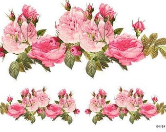 Delicieux VinTaGe BeST XXL PinK CaBbaGe RoSeS SWaGs ShaBby DeCALs ~FuRNiTuRe SiZe~