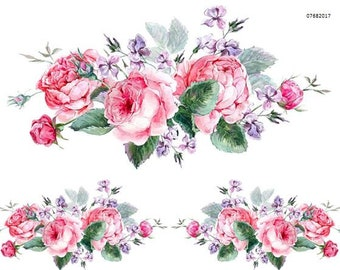 VinTaGe XL WaTerCoLoR CaBBaGe RoSe SWaGs ShaBby DeCALs ~FuRNiTuRe SiZe~