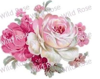 VinTaGe XL PinK U0026 IVoRy RoSe BuNcHeS ShaBby DeCALs ~FurNiTuRe SiZe~