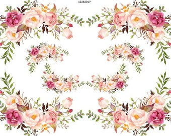 VinTaGe IMaGe XL FLoRaL ScRoLLY CoRNeRs ShaBby WaTerSLiDe DeCALs FuRNiTuRe SiZe
