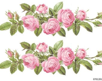 Ordinaire VinTaGe XXL ChaRmiNg PinK RoSe SwaGs ShaBby DeCALs *FuRniTuRe SiZe*