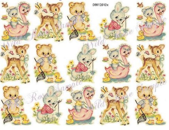 VinTaGe IMaGe PreTTy SpRinG VioLeT BouQueTs ShaBby WaTerSLiDe DeCALs