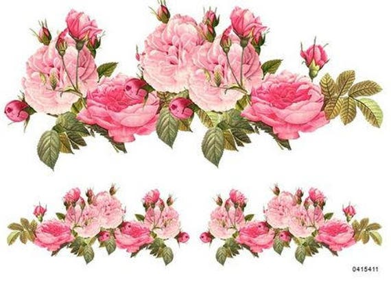 XL BeST HandPainTeD RoSeBuD SWaGs ShaBby WaTerSLiDe DeCALs ~FurNiTuRe SiZe~