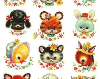 VinTaGe SHaBbY RePrO MeYeRCoRD ANiMaL FaCeS NurSeRY DeCALs