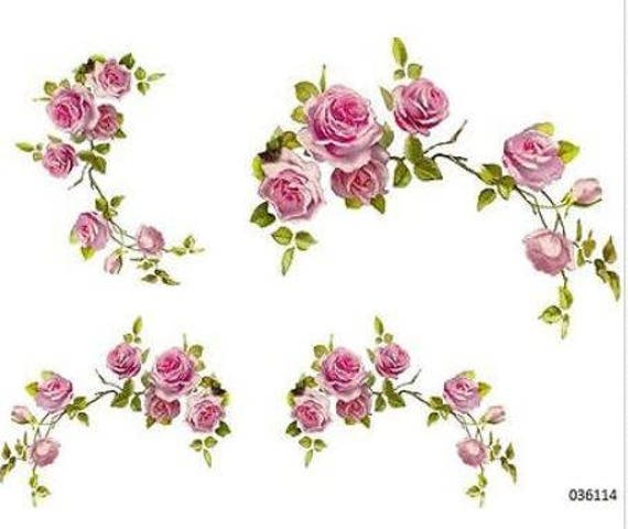 XXL TRiPLe CaBBaGe RoSe ShaBby FuRNiTuRe SiZe TRansFeRs WaTerSLiDe DeCALs