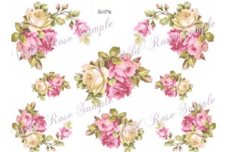 VinTaGe GorGeouS BaVaRiaN RoSeS /& CoRNeRs  ShaBby DeCALs
