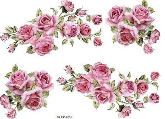 VinTaGe IMaGe XL BiRD BRaNcH PinK FLoWeRs SHaBbY WaTerSLiDe DeCALs TRaNsFeRs