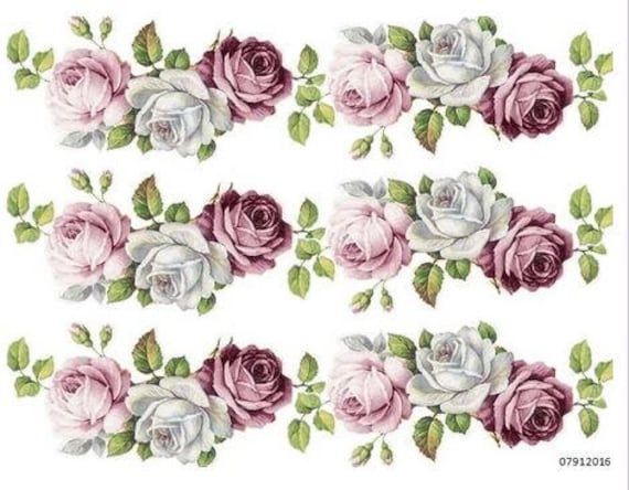 VinTaGe IMaGe BeST ChiC VioLeT CaBbaGe RoSeS ShaBby DeCALs FuRNiTuRe SiZe