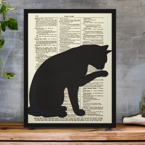 Happiness is a Book in my Hand and a Dog by My Side Quote on an Upcycled 120 Year Old Dictionary Page Holiday Gift Dog Art Print
