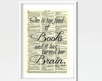 she is too fond of reading Louisa May Alcott Little Women vinyl sticker