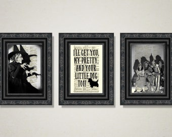 I'll Get You My Pretty Wizard of Oz Art Printed On Antique Dictionary Pages, Wicked Witch Quote With Toto The Cairn Terrier, Halloween Decor