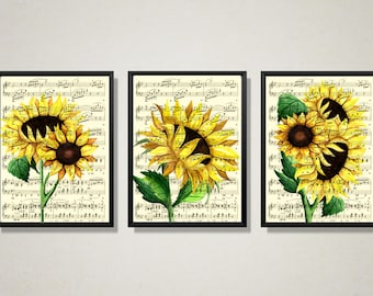 Sunflower Trio Printed On Antique Music Pages, Watercolor Flowers, Yellow Country Farmhouse Kitchen, Nursery Art, Cottagecore, Fall Decor
