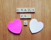 Valentines Gift, Anniversary Gift, Wedding, Scrabble Magnets, Upcycled, Eco Friendly, Scrapbook Supplies, Love