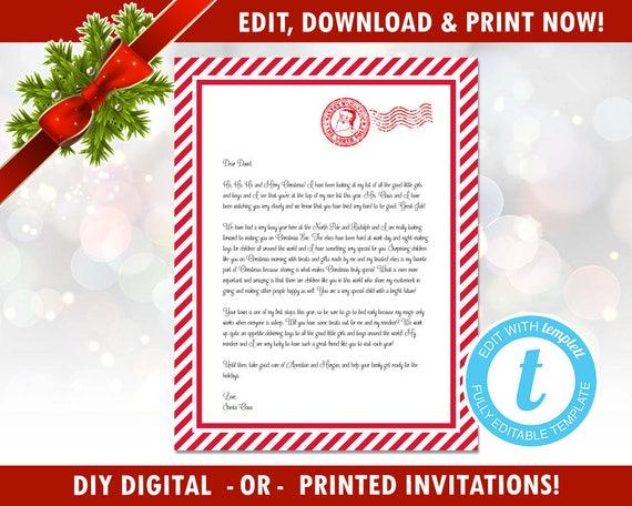Diy Editable Letter From Santa Easy Santa Letter North Etsy