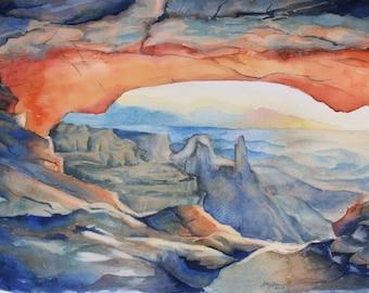 Mesa Arch Sunrise Landscape in Watercolor Original Painting