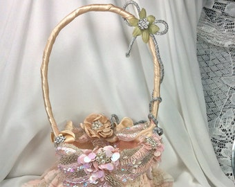 Wedding Flower Girl Basket Champagne Blush Wedding Basket Beaded Sequin Decorated Basket Boho Wedding Flower Girl Basket Girls Flowers Blush