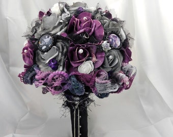 Nightmare Wedding Bridal Flower Bouquet Purple Gray Black Etsy