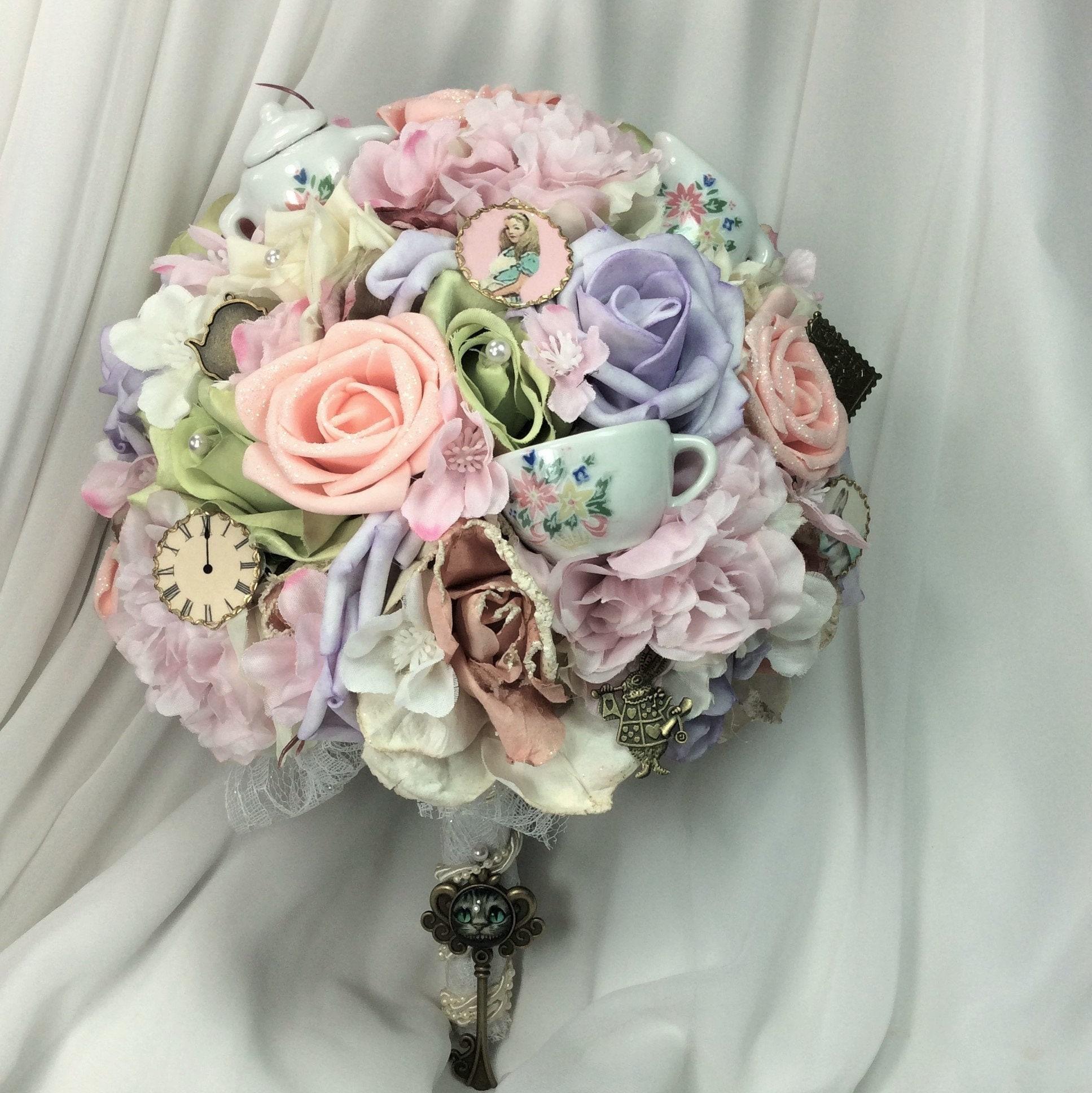 Wonderland Alice Bridal bride Wedding Bouquet Pink Lilac   Etsy