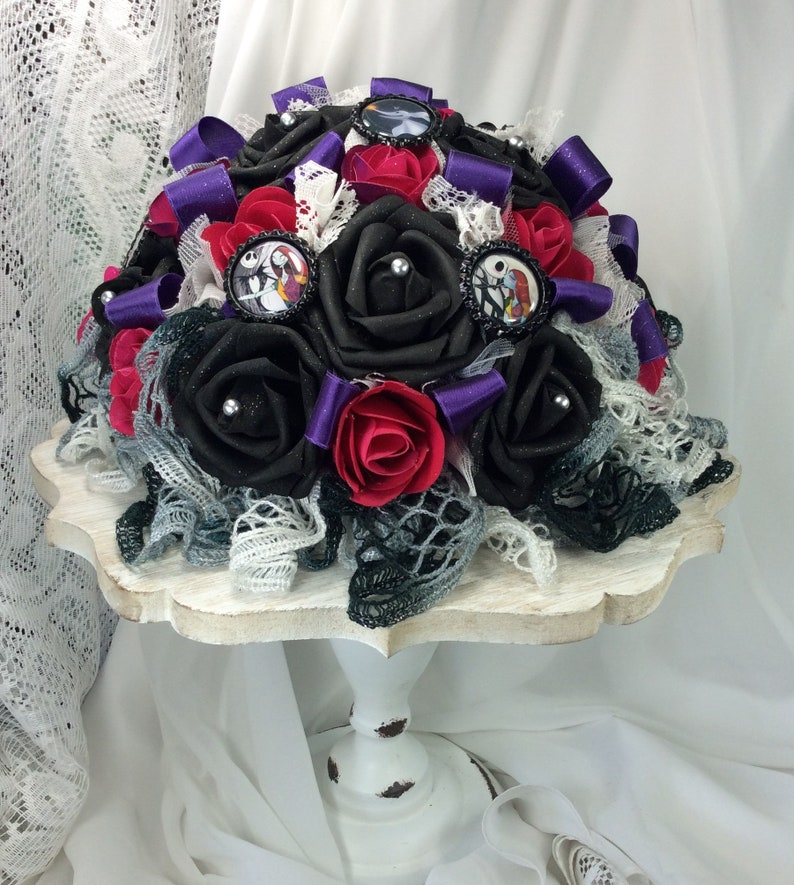 Nightmare Before Christmas Wedding Centerpiece Home Decor Wedding Reception Table Centerpiece Flower Centerpiece Decor Black Fuchsia Purple