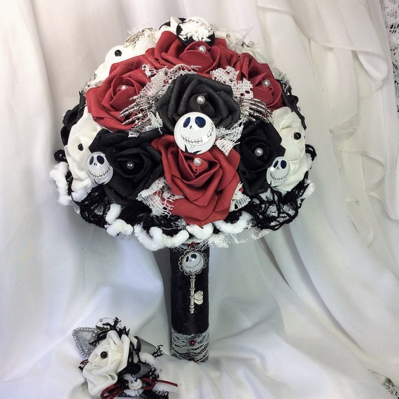 Jack skellington nightmare before christmas etsy jack skellington nightmare before christmas wedding flower bouquet brides flowers blackwhitered wedding halloween wedding tim burton mightylinksfo
