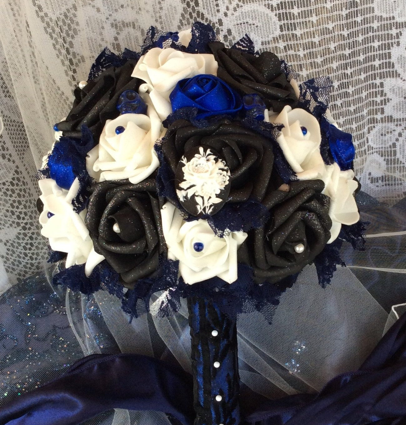 blue and black wedding flower bouquet-bridal flowers blue and black  bouquet-wedding flowers bridal bouquet-brides bouquet-gothic wedding