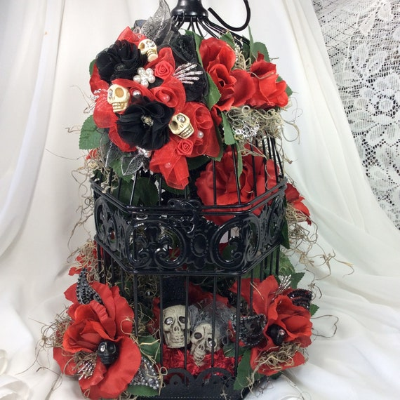 17x 14 Skull Wedding Decoration Red Black Etsy
