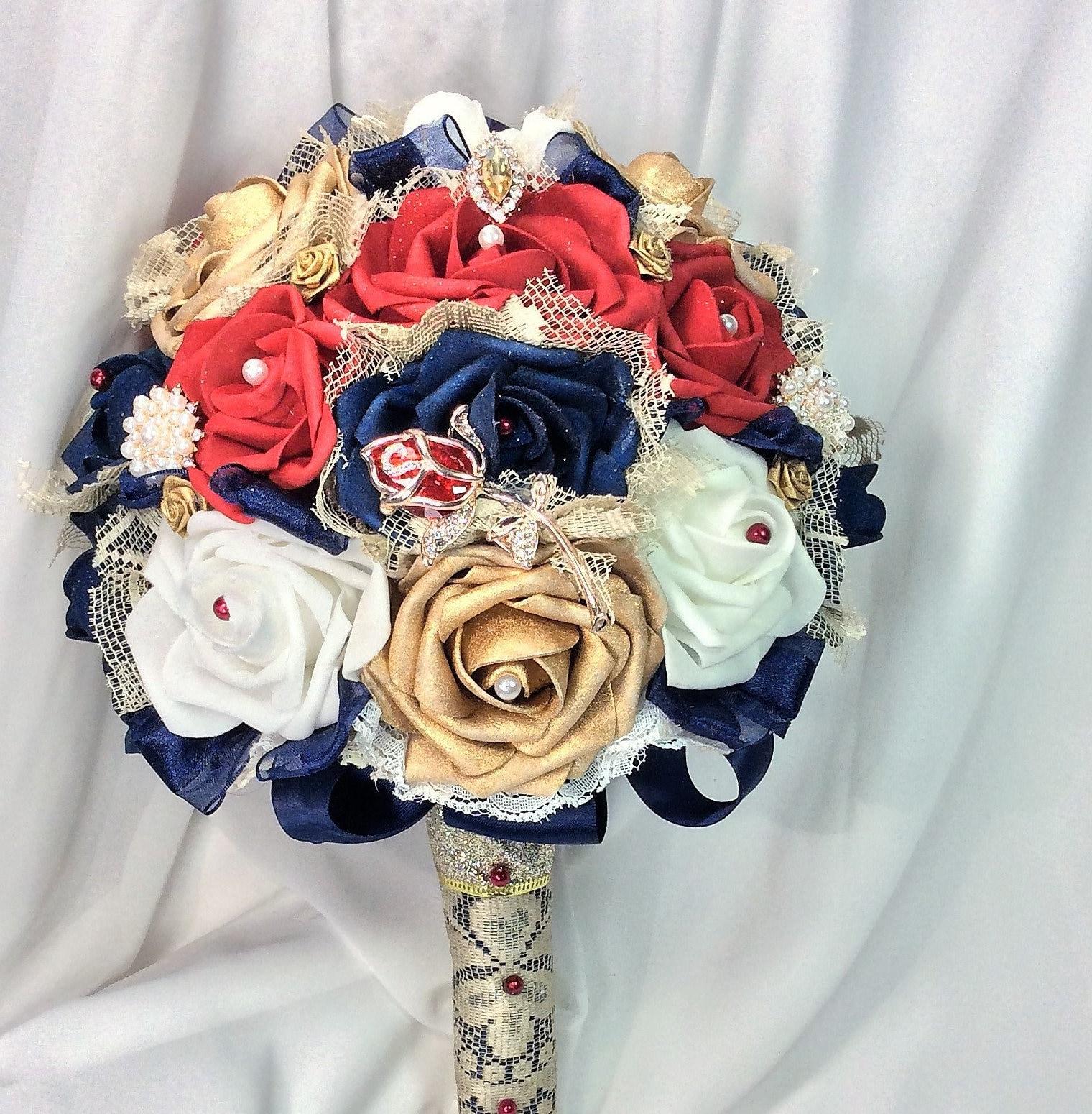 Beast Beauty Wedding Bridal Bride Bouquet Elegant Bridal Red Rose Brooch  Bouquet Flowers Disney Wedding Fairytale Fantasy Cosplay Wedding