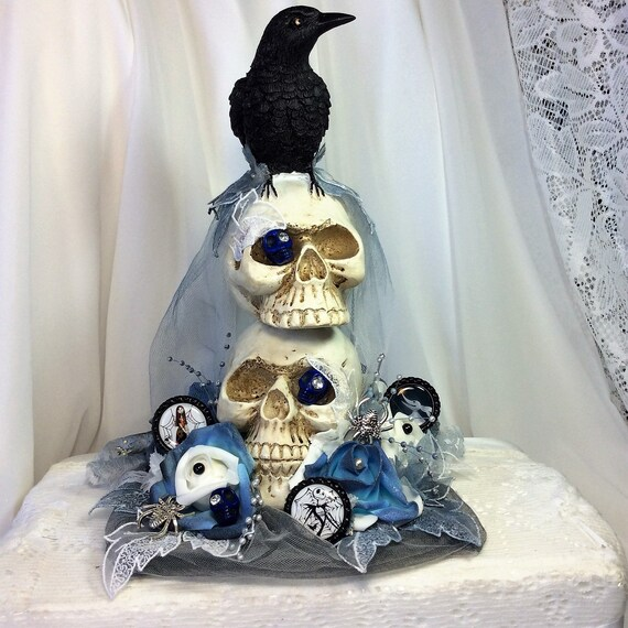 Nightmare Before Christmas Home Decor Skull And Raven Decor Blue And Black Wedding Decor Fantasy Jack Skellington Halloween Decor Gothic