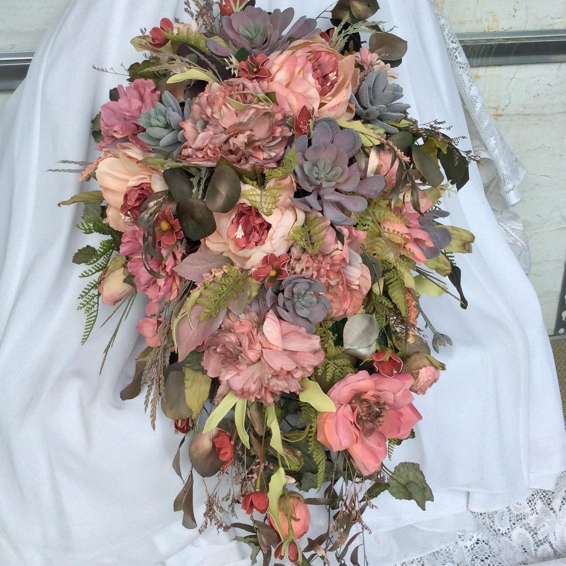 Large Bouquet Boho Wedding Bridal Flower Bouquet Wedding Etsy