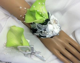 Green Lime Flower Corsage Set-Wrist Flowers-Prom Corsage-Wedding Bridal Flowers-Brooch Corsage-Corsage for Prom-Keepsake-Corsage-Alternative