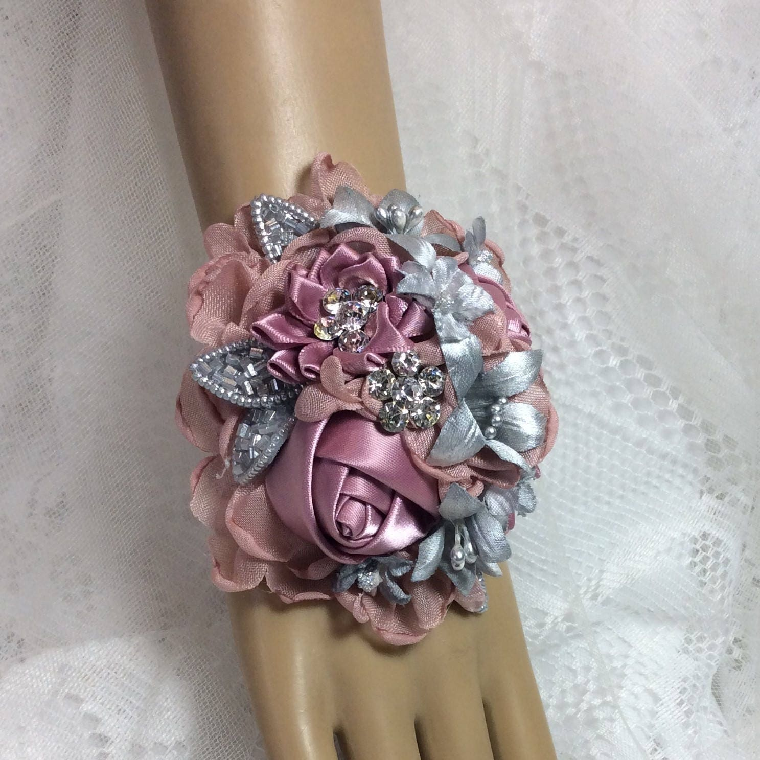 Silver Mauve Pink Flower Corsage And Boutonniere Pink Prom Etsy